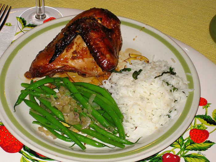Indonesian Ginger Chicken - Basil Jasmine Rice - String Beans with Shallots