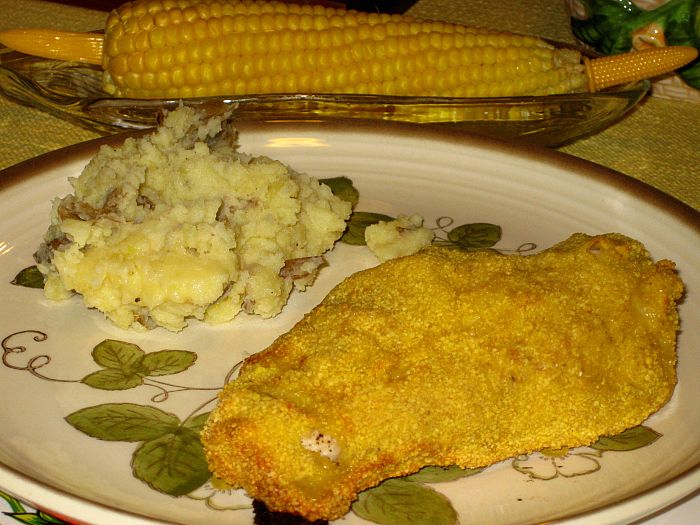 Corn on the cob - Mashed Potatoes - Oven Fried Chicken